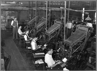 Linotype operators of the Chicago Defender by Jack Delano, 1941